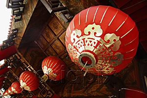 AsiaPix - red lanterns hanging from temple roof